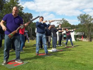 Corporate team building clay pigeon shooting