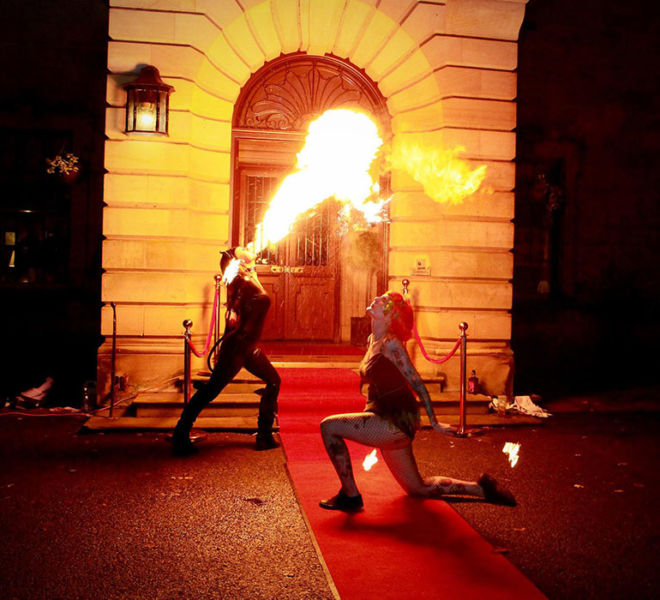 Fire eaters at Crathorne Hall for Taylor Wimpey