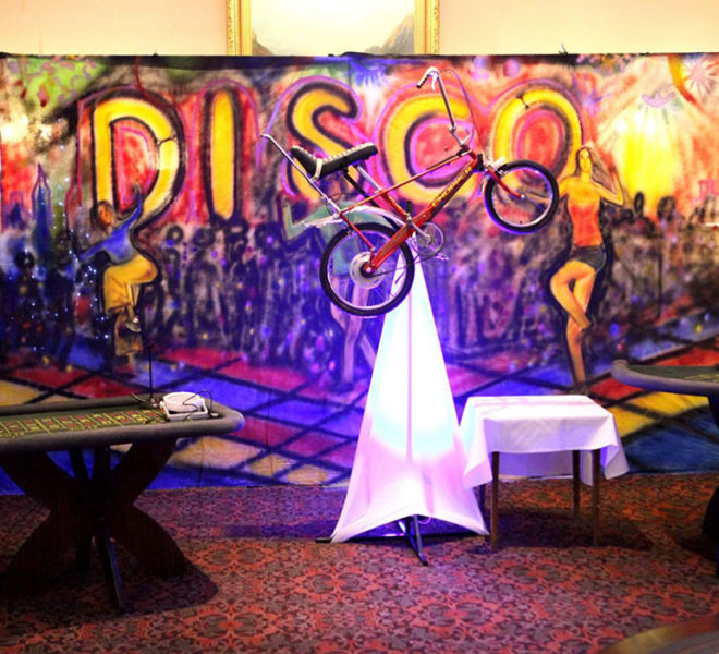 70's theme backdrop at Crathorne hall Yarm
