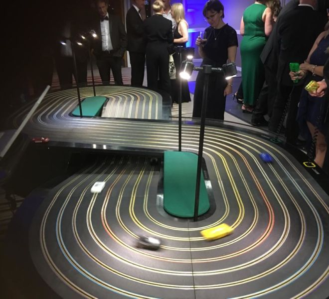 Computerised 8 lane Scalextric at a corporate party