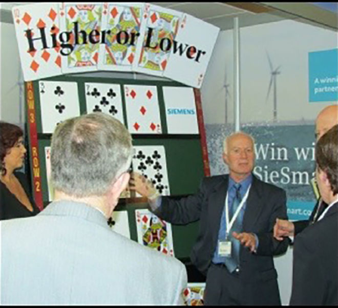 Seimens exhibition stand with our higher or lower branded game