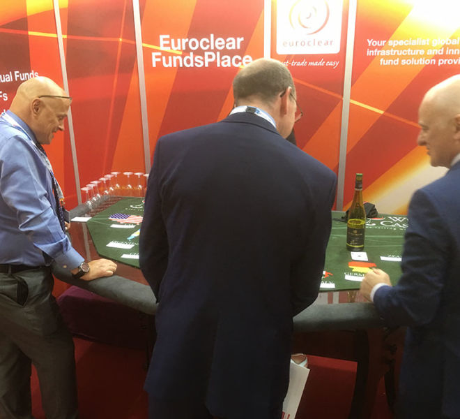 Expo booth in Berlin with Wine Tasting Casino Table