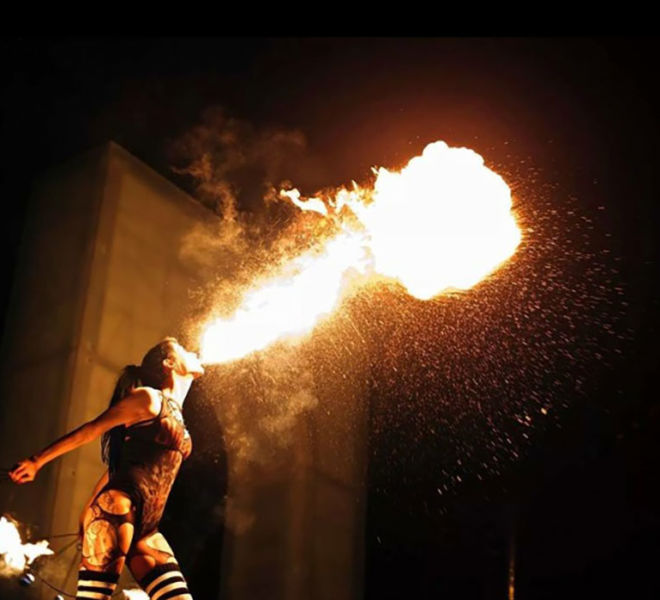 Crathorne Hall YARM WITH THE FIRE EATING GIRLS
