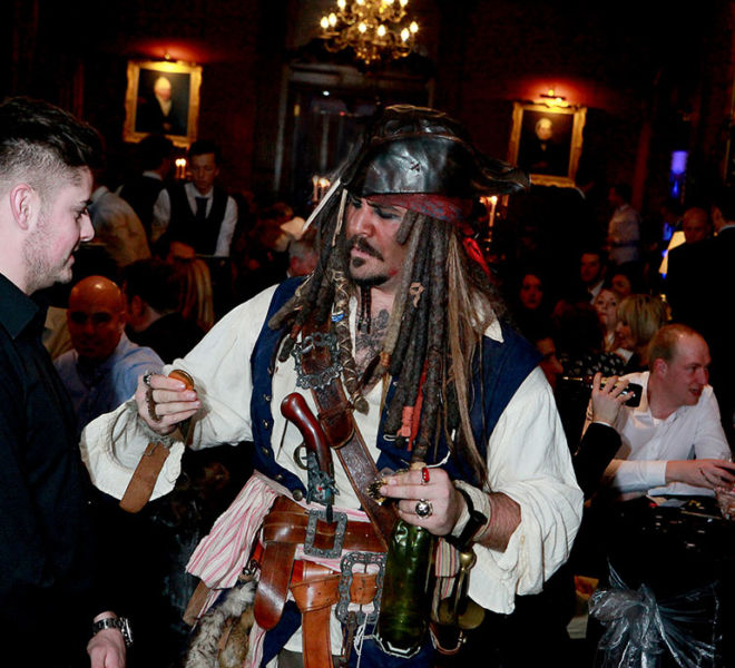 Capt Jack at a movie theme event
