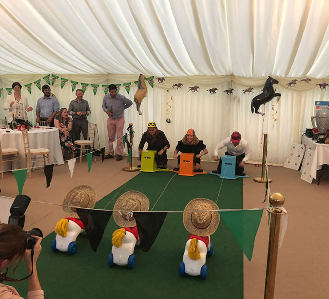 Corporate birthday with our wind up horses in Norfolk