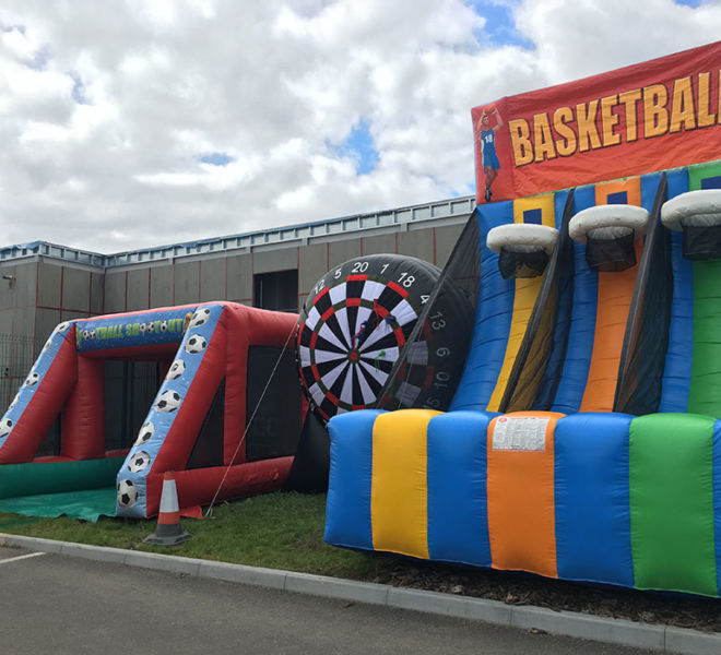 Basket ball Penalty shoot out and Giant darts in Stockton