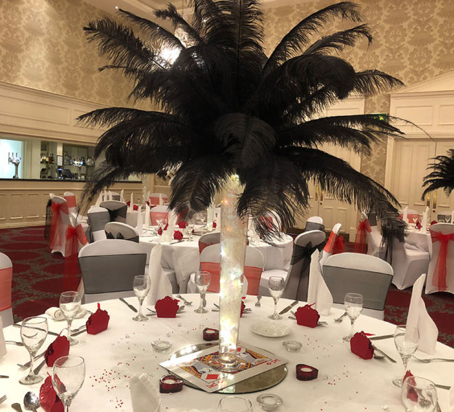 Ostrich feather table center