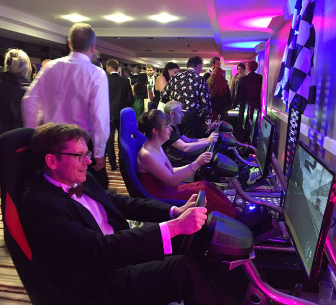 Our racing simulators at a charity ball in Milton Keynes