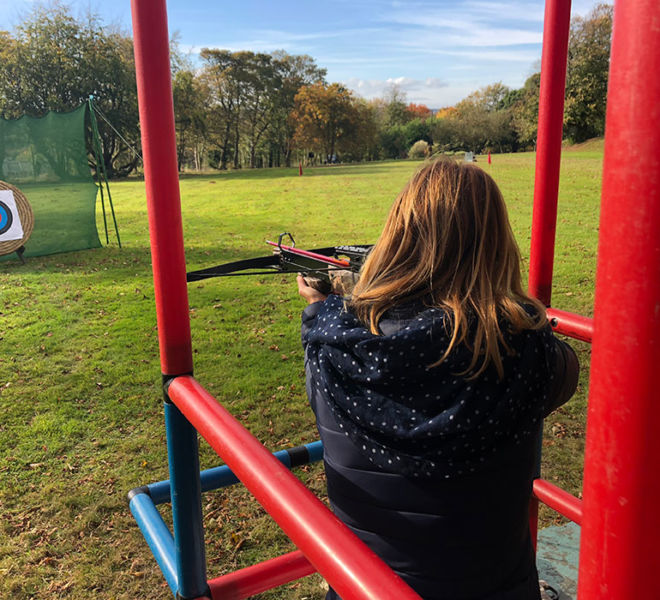 Lumley Castle cross bow shooting for a corporate event