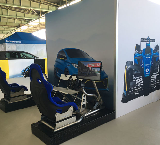 Exhibition stand racing sim hire