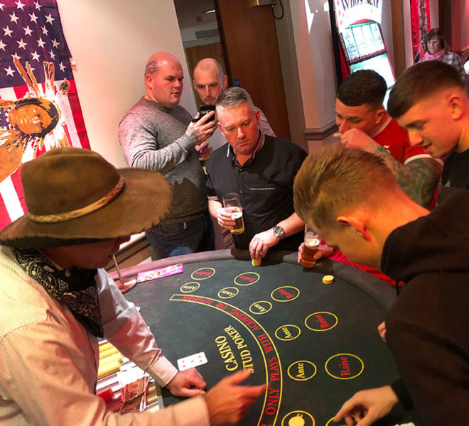 Poker table at a western theme evening