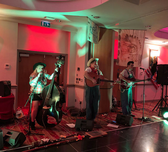 Hill billy band at a corporate party