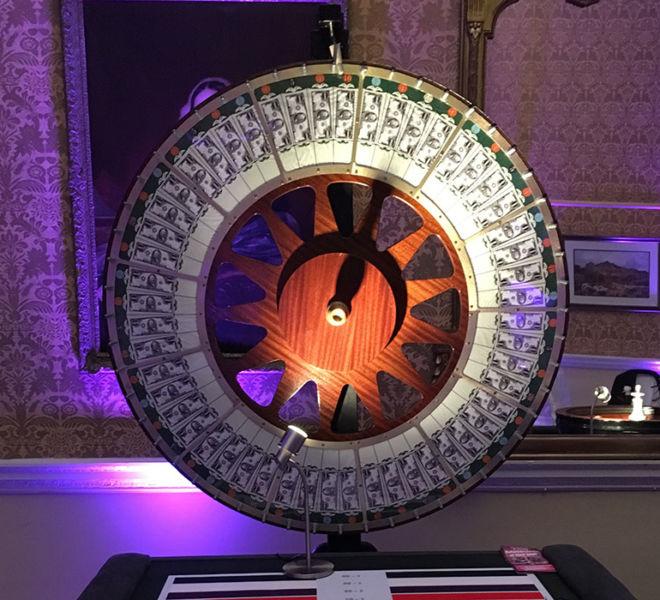 Wheel of fortune at a fun casino night