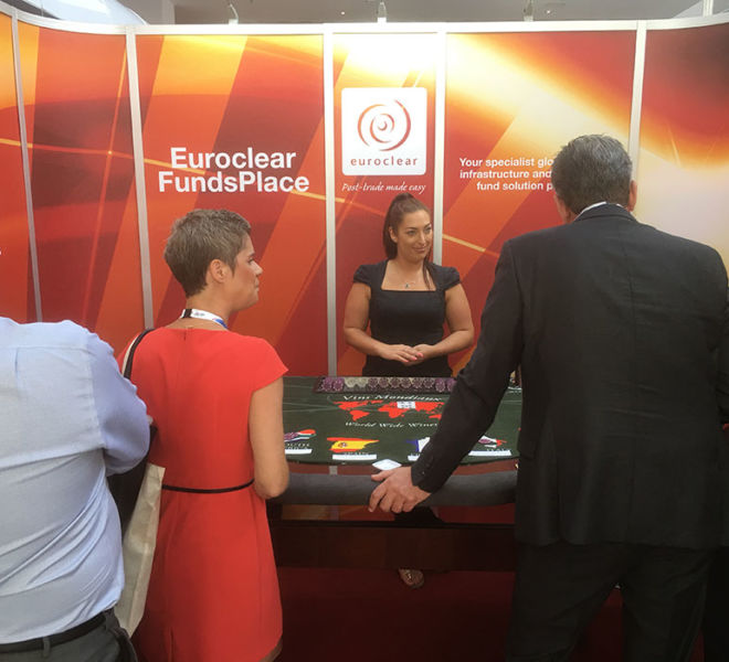 Trade shoe entertainment with the wine tasting casino table in Berlin
