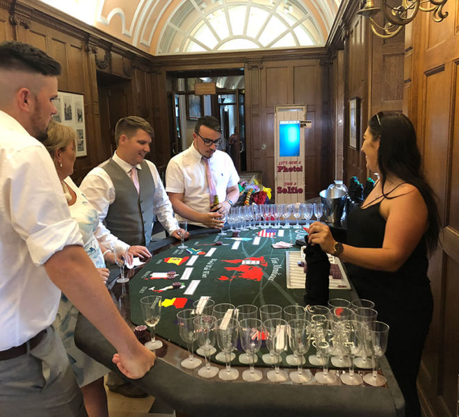 A wedding at Crathorne Hall with the Wine Tasting Casino Table