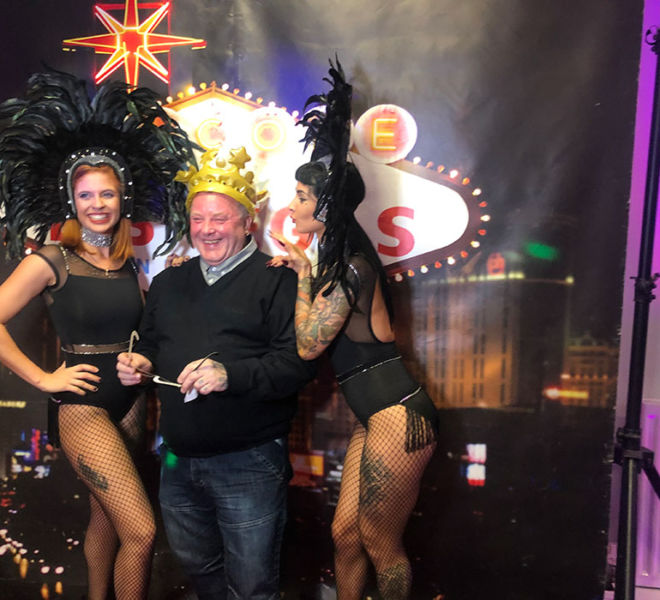 Photo shoot with the showgirls and Vegas Backdrop