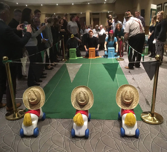 Wind up horses race event at the Belfry in Birmingham