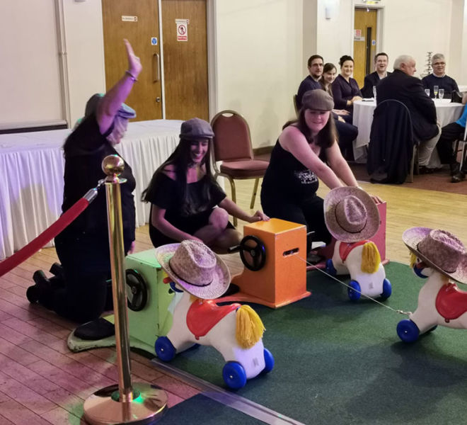 Horse race niight with our wind up horses at Brighouse Sports and social club
