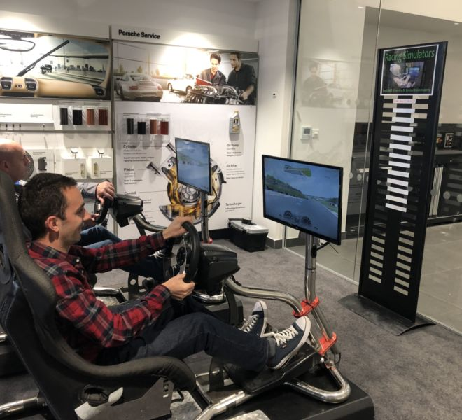 Racing simulators on a ride and drive event for Porsche