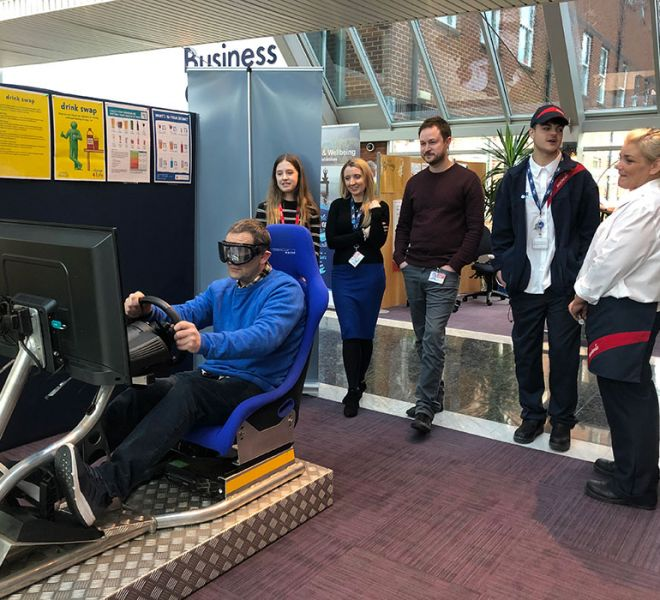 Driver awareness simulator with beer goggles in Tidwell