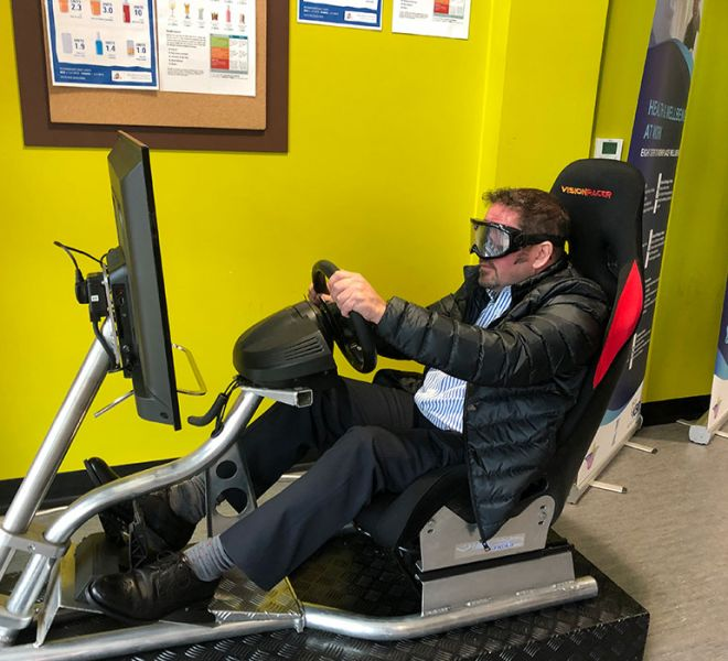 Driver awareness simulator with beer goggles in Aldershot