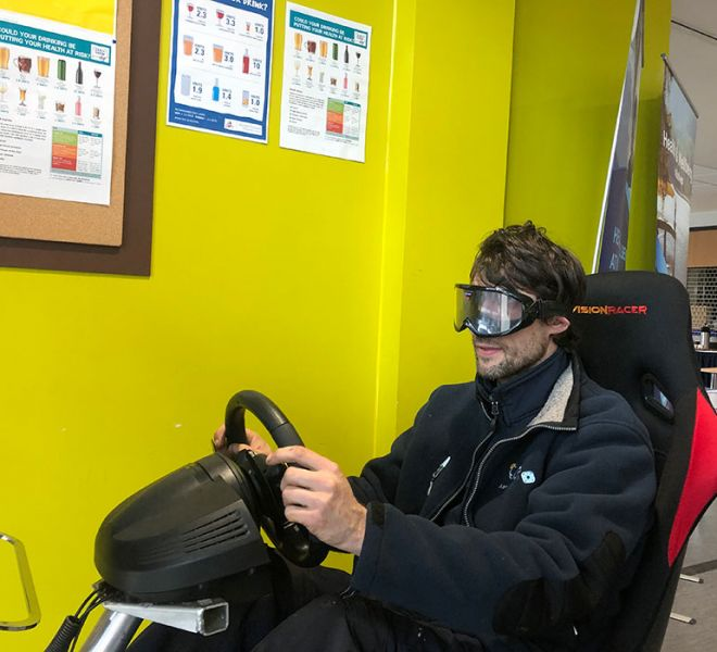 Driver awareness simulator with beer goggles