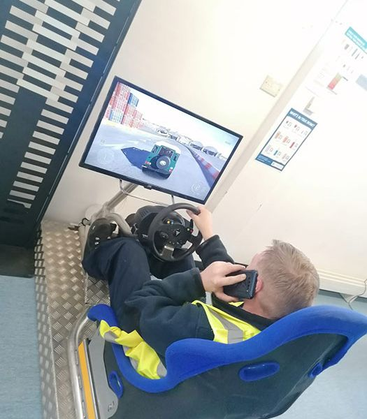 Driver awareness simulator traing moduel making a call