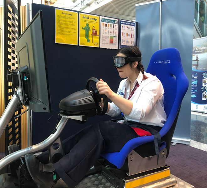 Driver awareness sim with beer goggles