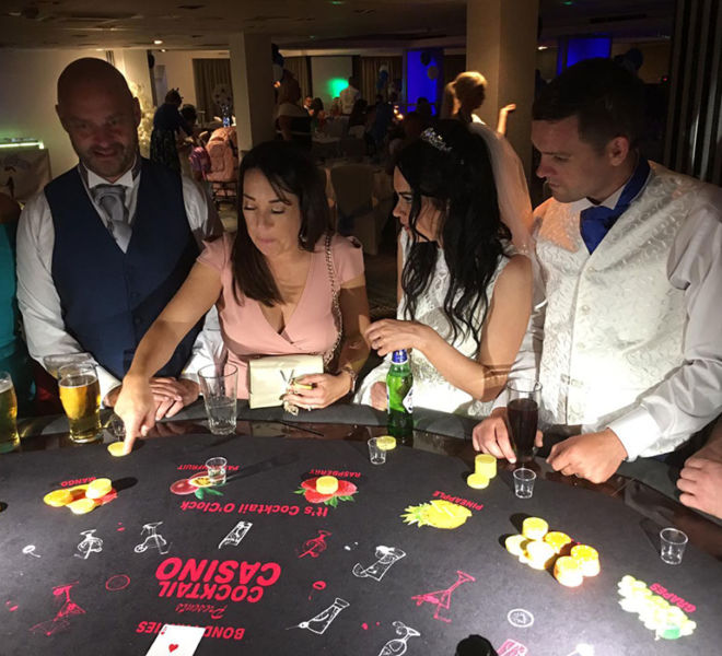 Wedding with the Cocktail Tasting Casino Table