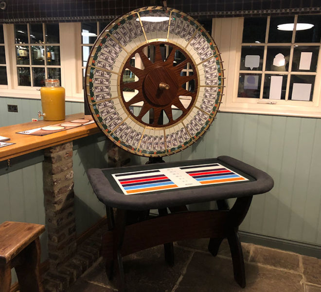 Wheel of fortune at a charity event at Newton near Stocksfield
