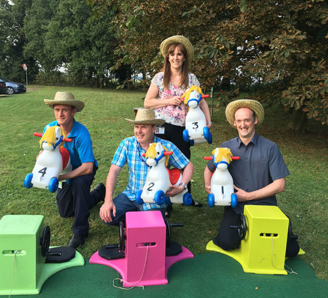 Our wind up horses on an outdoor team building day in Birmingham