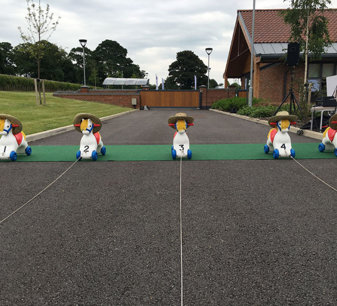 Wind up horse racing at the jockeys rehabilitation centre in Malton