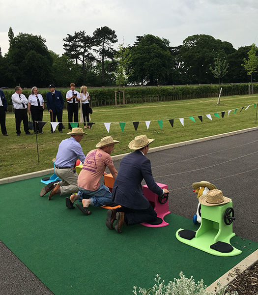 Wind up horse racing at the jockeys rehabilitation centre in Malton North Yorkshire
