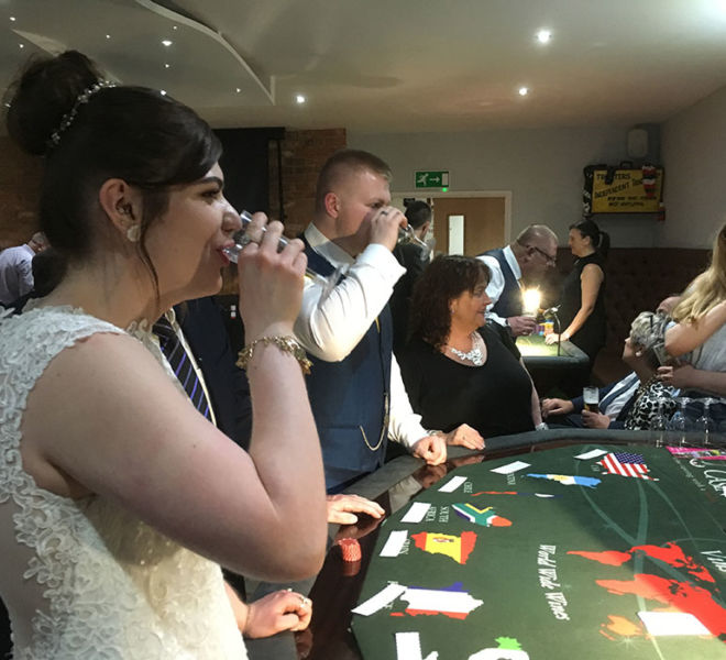 Wedding entertainment with the wine tasting casino table