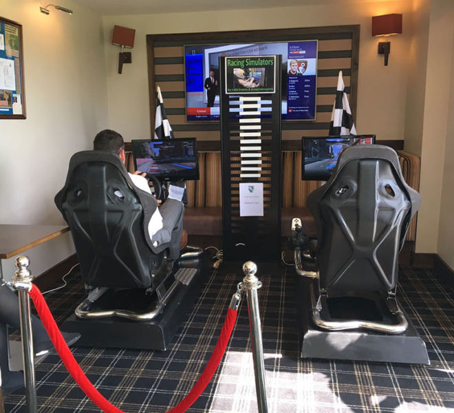 Racing simulators with top gear style leader board