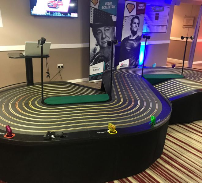Charity ball in Milton Keyne with our 8 lane scalextric