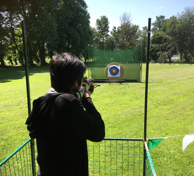 Crossbow shooting on a corporate day at Lumley Castle