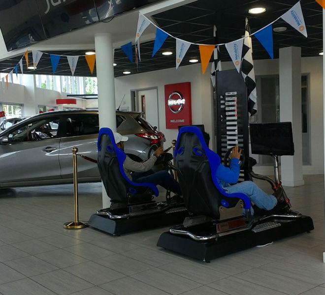Nissan car launch in Widness with racing simulators
