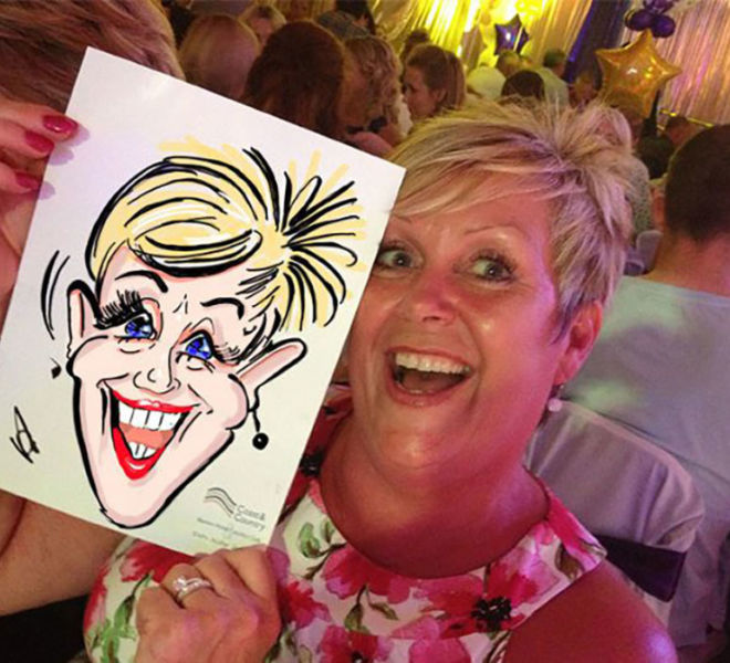Company dinner with our caricaturist
