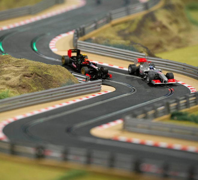 2 lane Scalextric on an exhibition stand