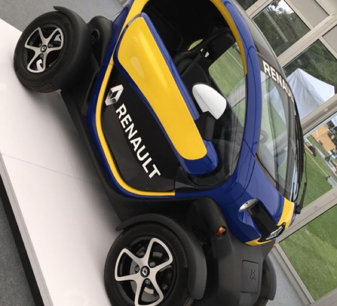 Paris exhibition stand with the Renault Twizzy, All electric eco car