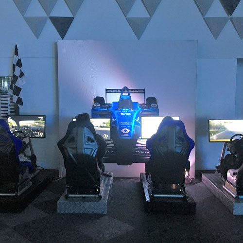 Racing Simulators with Backdrop at Loughbrough